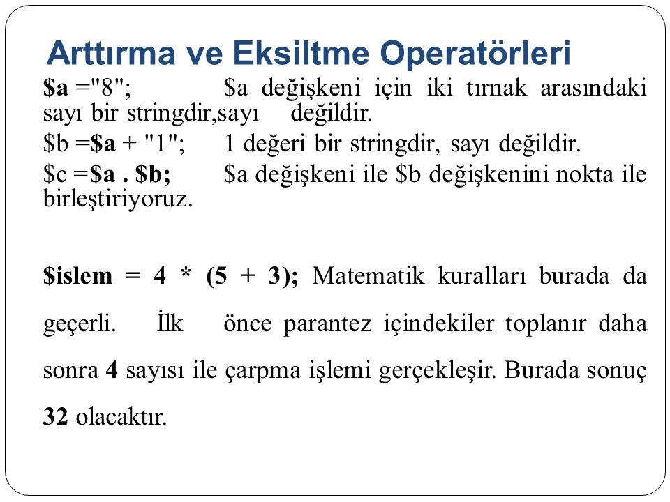Arttırma ve Eksiltme Operatörleri $a = 8 ;$a değişkeni için iki tırnak arasındaki sayı bir stringdir,sayıdeğildir.