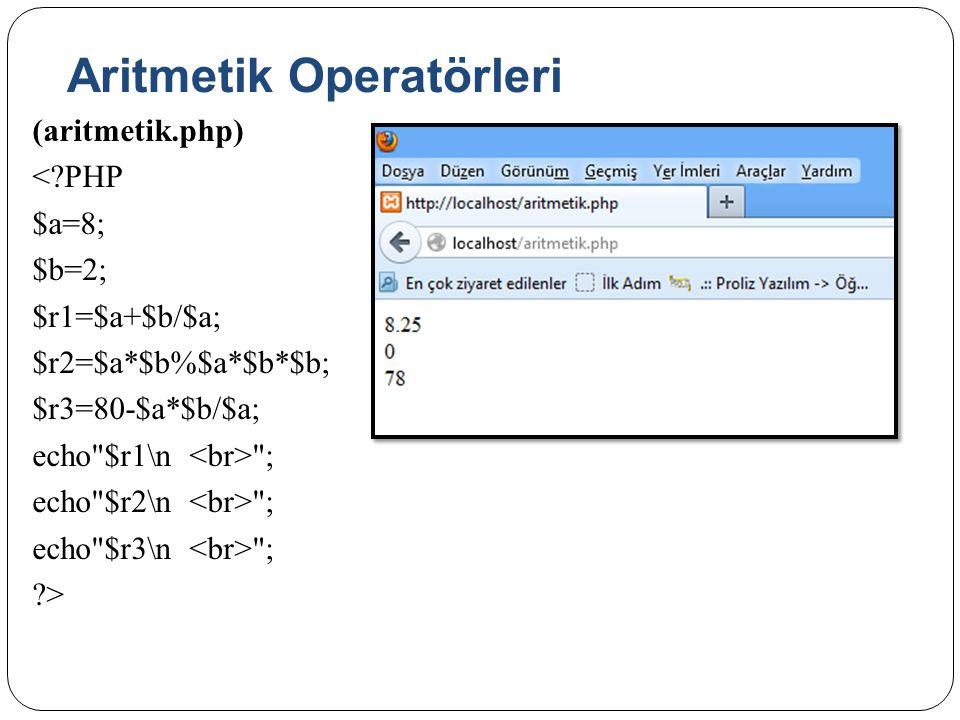 Aritmetik Operatörleri (aritmetik.php) <?PHP $a=8; $b=2; $r1=$a+$b/$a; $r2=$a*$b%$a*$b*$b; $r3=80-$a*$b/$a; echo $r1\n ; echo $r2\n ; echo $r3\n ; ?>