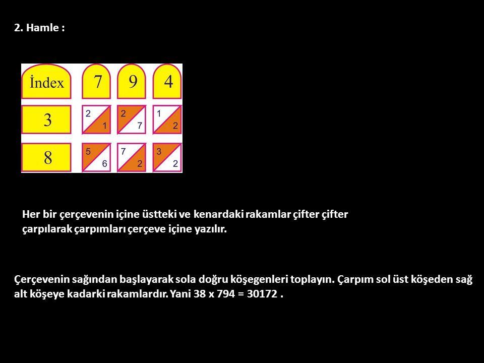 2. Hamle : Her bir çerçevenin içine üstteki ve kenardaki rakamlar çifter çifter çarpılarak çarpımları çerçeve içine yazılır. Çerçevenin sağından başla