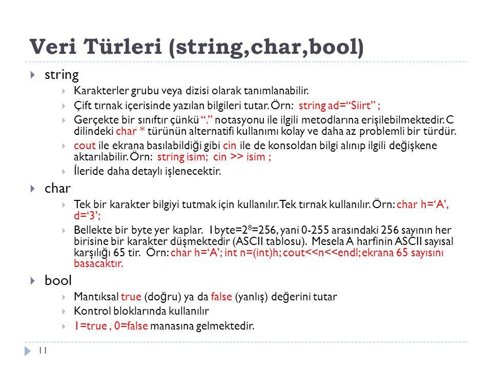 Veri Türleri (string,char,bool) 11  string  Karakterler grubu veya dizisi olarak tanımlanabilir.  Çift tırnak içerisinde yazılan bilgileri tutar. Ö