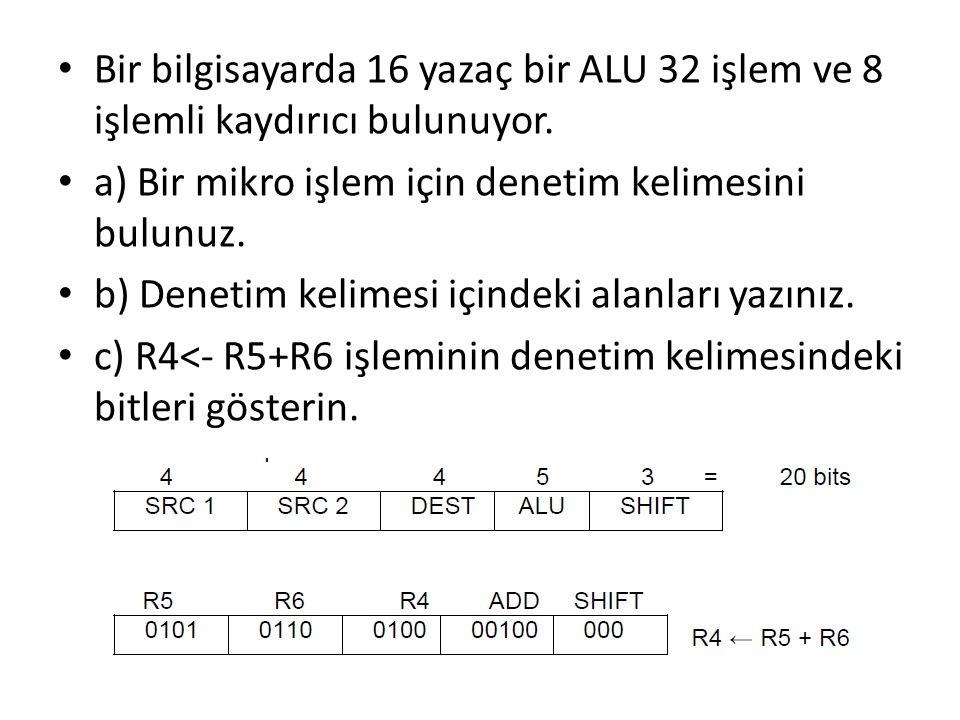 Bir bilgisayarda 16 yazaç bir ALU 32 işlem ve 8 işlemli kaydırıcı bulunuyor. a) Bir mikro işlem için denetim kelimesini bulunuz. b) Denetim kelimesi i