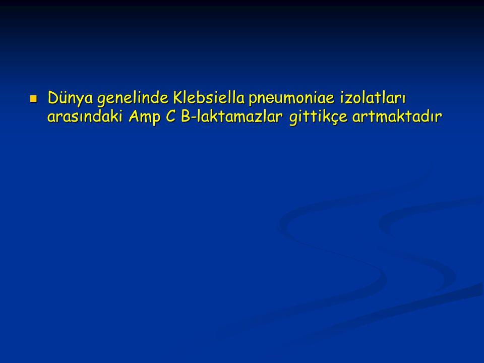 Dünya genelinde Klebsiella p n eu moniae izolatları arasındaki Amp C B-laktamazlar gittikçe artmaktadır Dünya genelinde Klebsiella p n eu moniae izolatları arasındaki Amp C B-laktamazlar gittikçe artmaktadır
