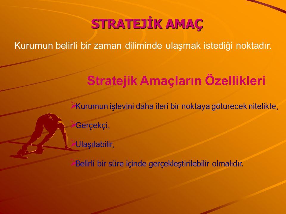 STRATEJİK AMAÇ Stratejik Amaçların Özellikleri  Kurumun işlevini daha ileri bir noktaya götürecek nitelikte,  Gerçekçi,  Ulaşılabilir,  Belirli bi