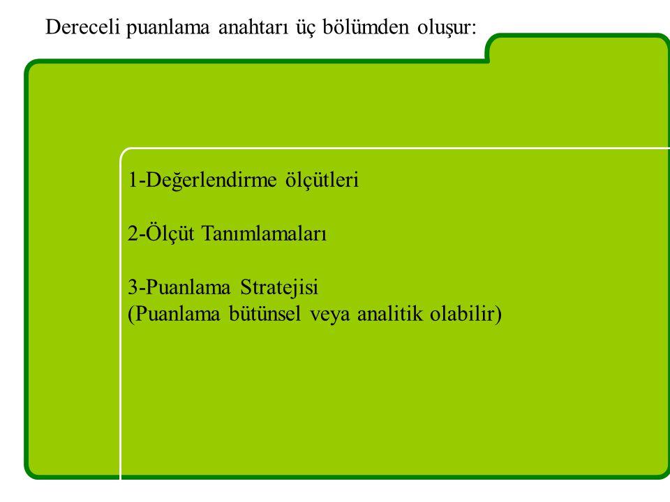 1-Değerlendirme ölçütleri 2-Ölçüt Tanımlamaları 3-Puanlama Stratejisi (Puanlama bütünsel veya analitik olabilir) Dereceli puanlama anahtarı üç bölümde