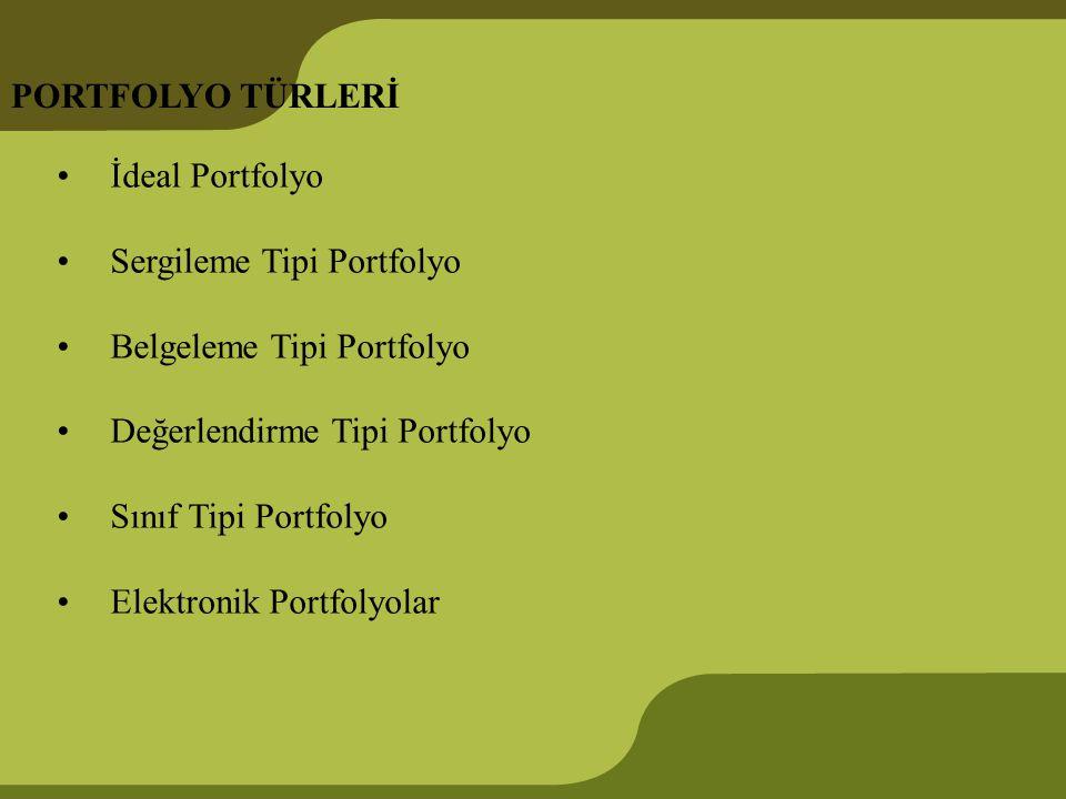 PORTFOLYO TÜRLERİ İdeal Portfolyo Sergileme Tipi Portfolyo Belgeleme Tipi Portfolyo Değerlendirme Tipi Portfolyo Sınıf Tipi Portfolyo Elektronik Portf
