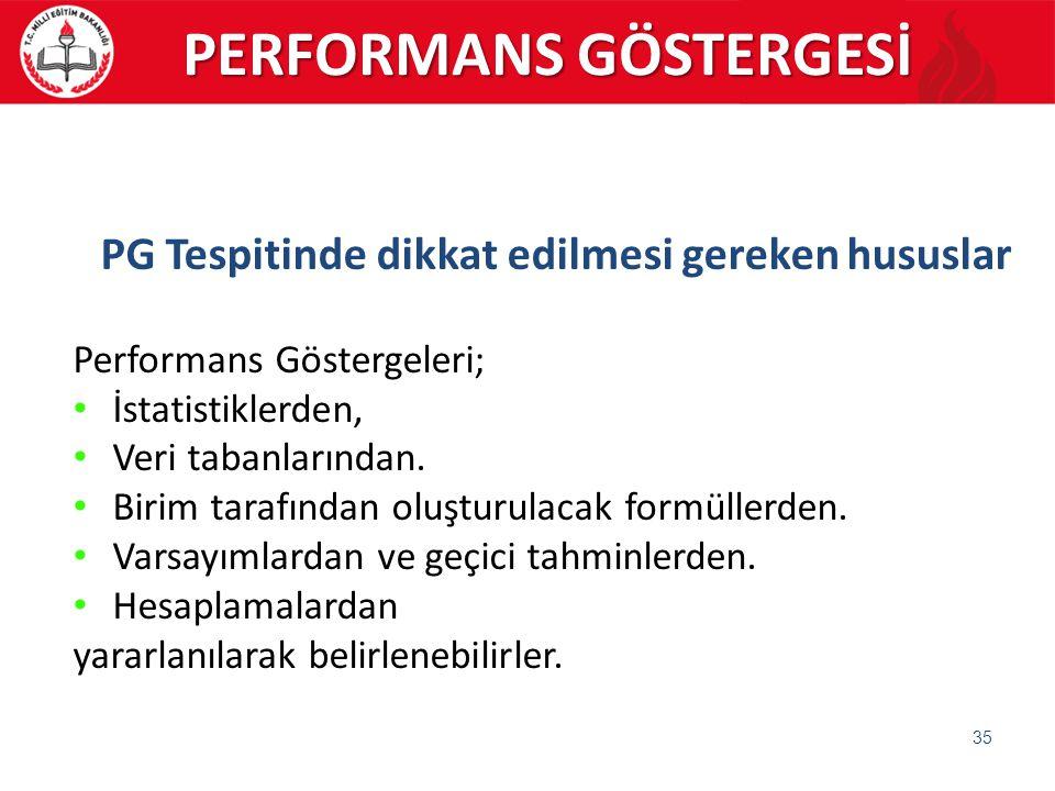 35 PG Tespitinde dikkat edilmesi gereken hususlar Performans Göstergeleri; İstatistiklerden, Veri tabanlarından. Birim tarafından oluşturulacak formül