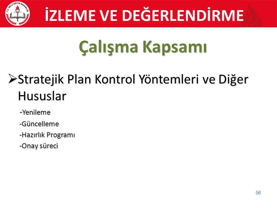 Çalışma Kapsamı  Stratejik Plan Kontrol Yöntemleri ve Diğer Hususlar - Yenileme -Güncelleme -Hazırlık Programı -Onay süreci 56 İZLEME VE DEĞERLENDİRM