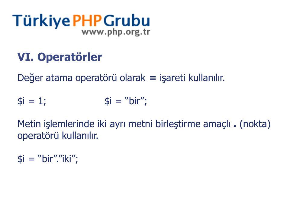 VI. Operatörler Değer atama operatörü olarak = işareti kullanılır.