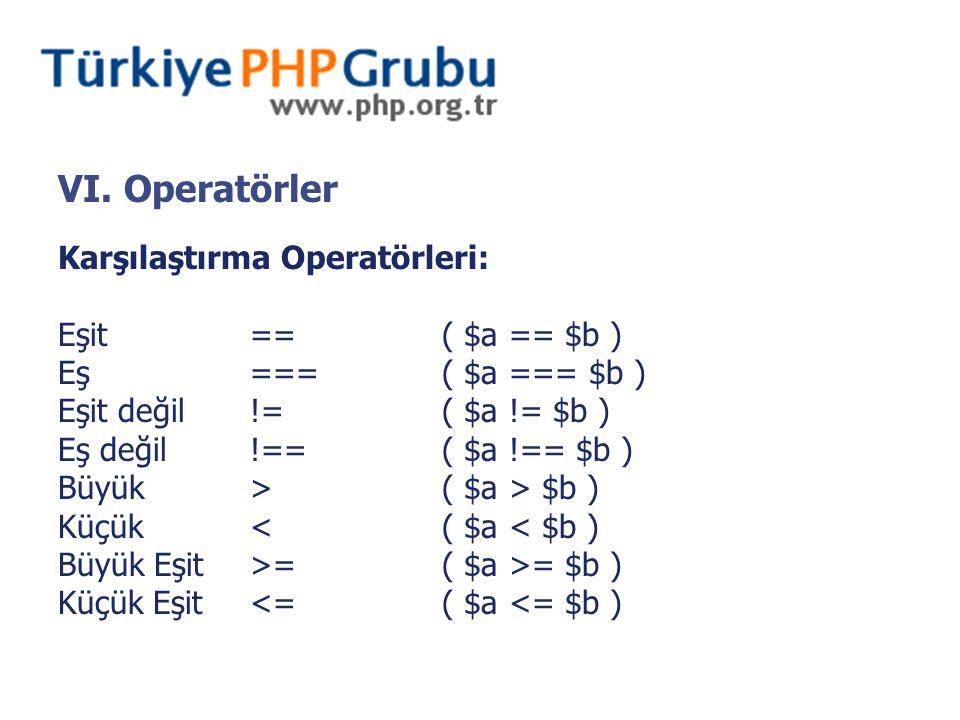 VI. Operatörler Karşılaştırma Operatörleri: Eşit==( $a == $b ) Eş===( $a === $b ) Eşit değil!=( $a != $b ) Eş değil!==( $a !== $b ) Büyük>( $a > $b )