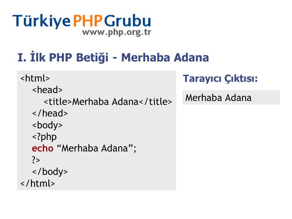 "I. İlk PHP Betiği - Merhaba Adana Merhaba Adana <?php echo ""Merhaba Adana""; ?> Tarayıcı Çıktısı: Merhaba Adana"