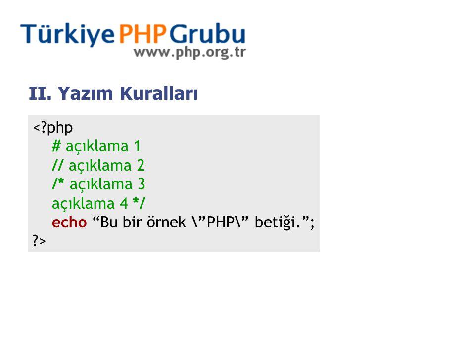 """II. Yazım Kuralları <?php # açıklama 1 // açıklama 2 /* açıklama 3 açıklama 4 */ echo """"Bu bir örnek \""""PHP\"""" betiği.""""; ?>"""