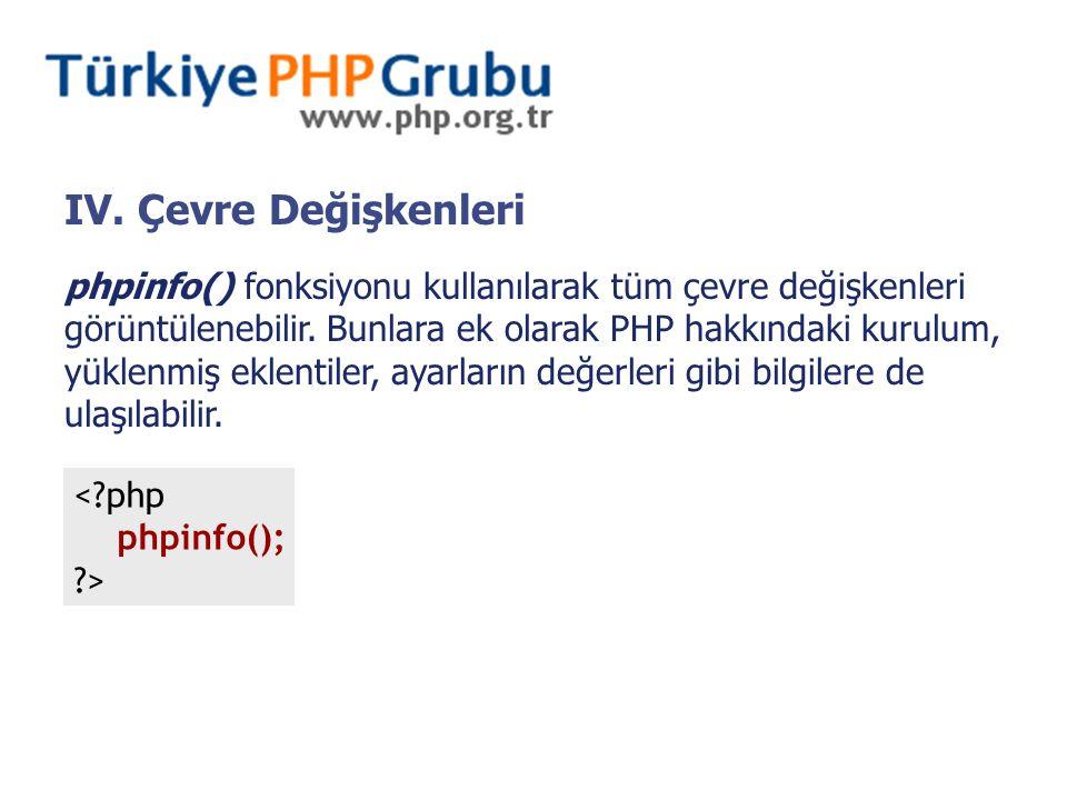 IV. Çevre Değişkenleri phpinfo() fonksiyonu kullanılarak tüm çevre değişkenleri görüntülenebilir.