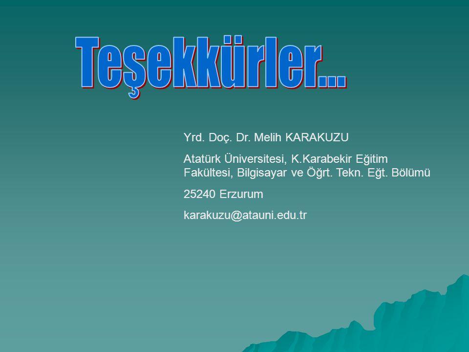 Yrd. Doç. Dr. Melih KARAKUZU Atatürk Üniversitesi, K.Karabekir Eğitim Fakültesi, Bilgisayar ve Öğrt. Tekn. Eğt. Bölümü 25240 Erzurum karakuzu@atauni.e