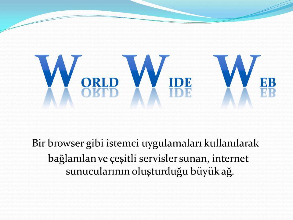 Bir browser gibi istemci uygulamaları kullanılarak bağlanılan ve çeşitli servisler sunan, internet sunucularının oluşturduğu büyük ağ.