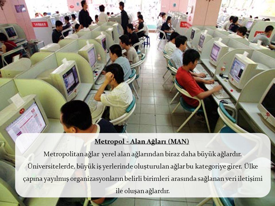 Metropol - Alan Ağları (MAN) Metropol - Alan Ağları (MAN) Metropolitan ağlar yerel alan ağlarından biraz daha büyük ağlardır. Üniversitelerde, büyük i