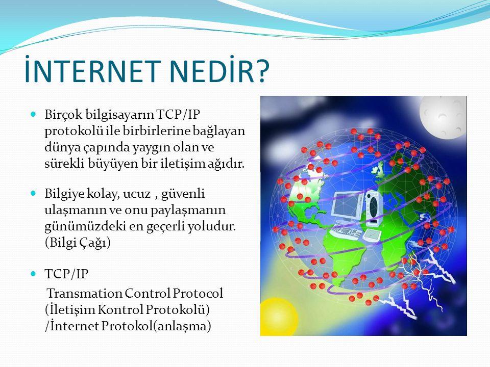 İNTERNET NEDİR? Birçok bilgisayarın TCP/IP protokolü ile birbirlerine bağlayan dünya çapında yaygın olan ve sürekli büyüyen bir iletişim ağıdır. Bilgi