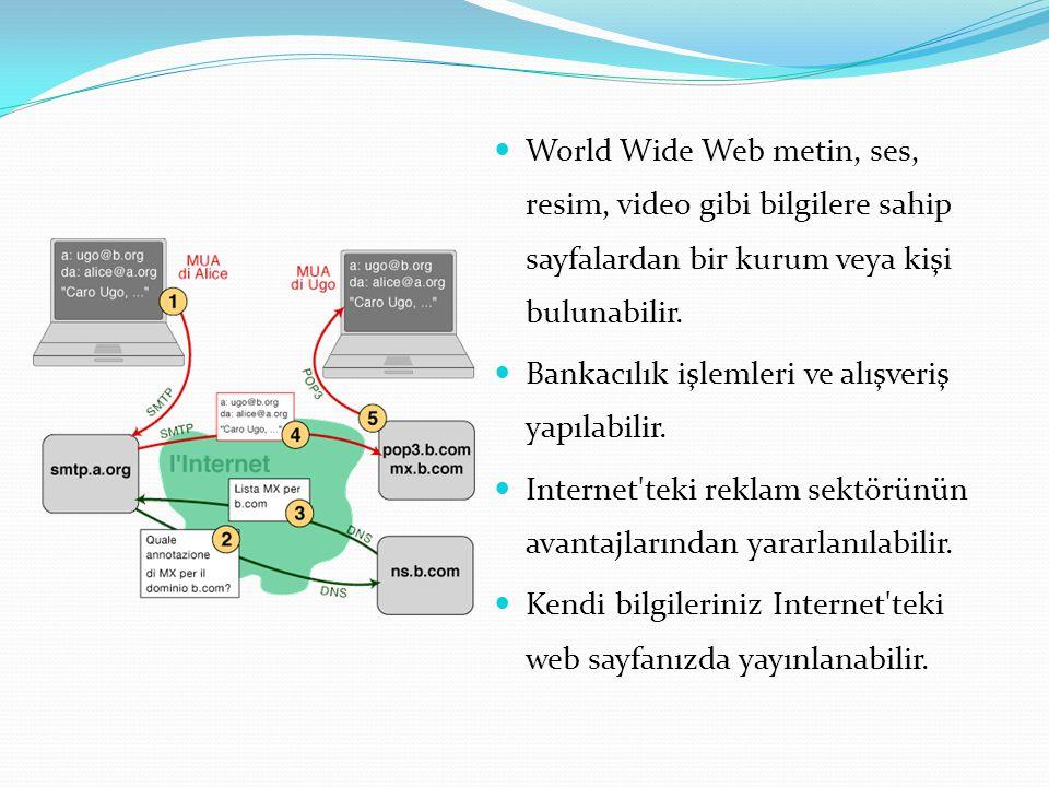 World Wide Web metin, ses, resim, video gibi bilgilere sahip sayfalardan bir kurum veya kişi bulunabilir. Bankacılık işlemleri ve alışveriş yapılabili