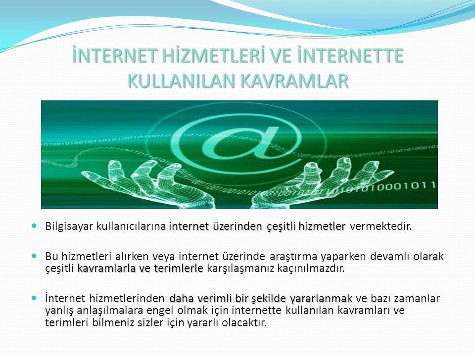 İNTERNET HİZMETLERİ VE İNTERNETTE KULLANILAN KAVRAMLAR internet üzerinden çeşitli hizmetler Bilgisayar kullanıcılarına internet üzerinden çeşitli hizm