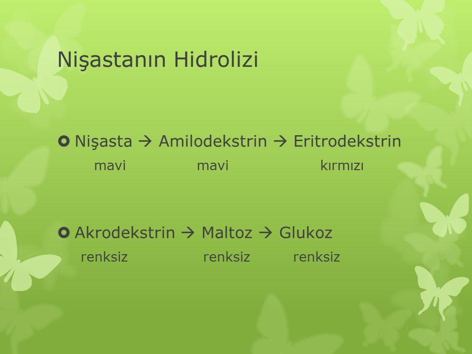 Nişastanın Hidrolizi  Nişasta  Amilodekstrin  Eritrodekstrin mavi mavi kırmızı  Akrodekstrin  Maltoz  Glukoz renksiz renksiz renksiz