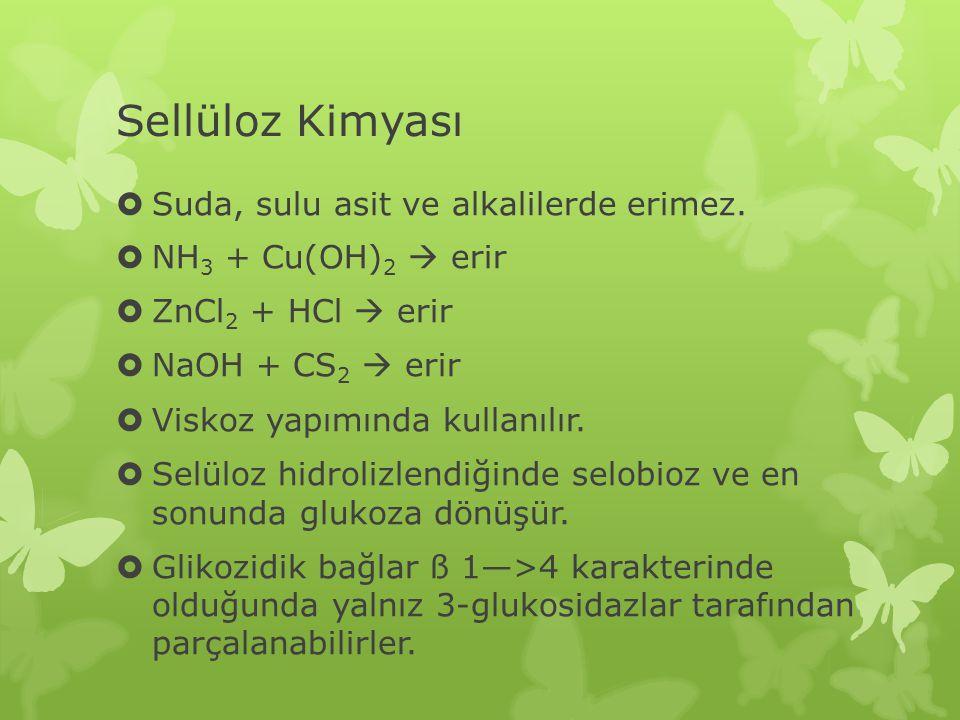 Sellüloz Kimyası  Suda, sulu asit ve alkalilerde erimez.  NH 3 + Cu(OH) 2  erir  ZnCl 2 + HCl  erir  NaOH + CS 2  erir  Viskoz yapımında kulla