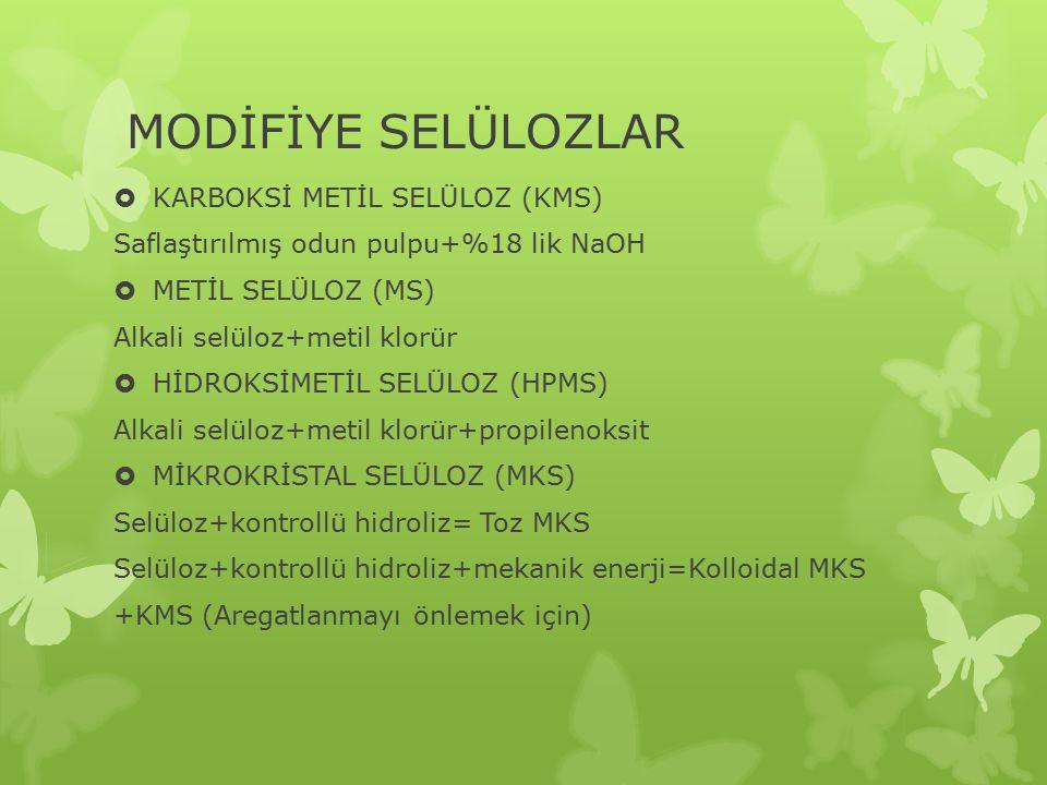 MODİFİYE SELÜLOZLAR  KARBOKSİ METİL SELÜLOZ (KMS) Saflaştırılmış odun pulpu+%18 lik NaOH  METİL SELÜLOZ (MS) Alkali selüloz+metil klorür  HİDROKSİMETİL SELÜLOZ (HPMS) Alkali selüloz+metil klorür+propilenoksit  MİKROKRİSTAL SELÜLOZ (MKS) Selüloz+kontrollü hidroliz= Toz MKS Selüloz+kontrollü hidroliz+mekanik enerji=Kolloidal MKS +KMS (Aregatlanmayı önlemek için)