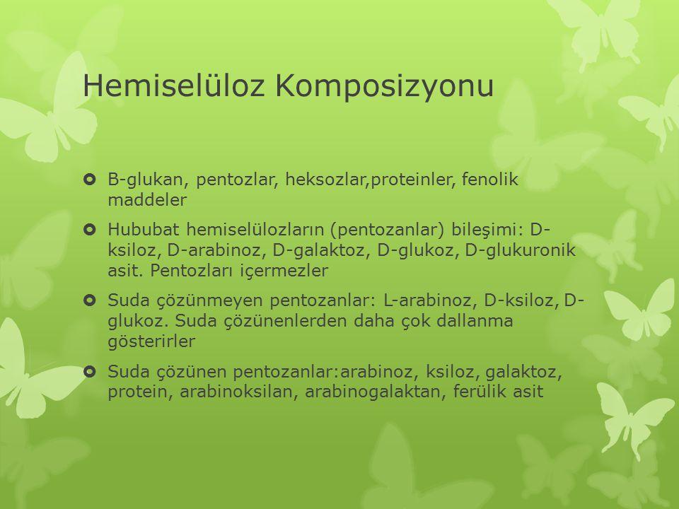 Hemiselüloz Komposizyonu  Β-glukan, pentozlar, heksozlar,proteinler, fenolik maddeler  Hububat hemiselülozların (pentozanlar) bileşimi: D- ksiloz, D-arabinoz, D-galaktoz, D-glukoz, D-glukuronik asit.