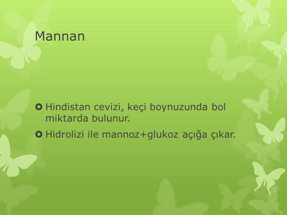 Mannan  Hindistan cevizi, keçi boynuzunda bol miktarda bulunur.  Hidrolizi ile mannoz+glukoz açığa çıkar.