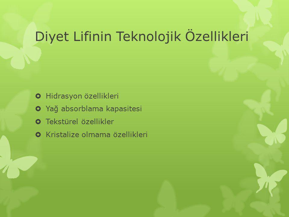 Diyet Lifinin Teknolojik Özellikleri  Hidrasyon özellikleri  Yağ absorblama kapasitesi  Tekstürel özellikler  Kristalize olmama özellikleri