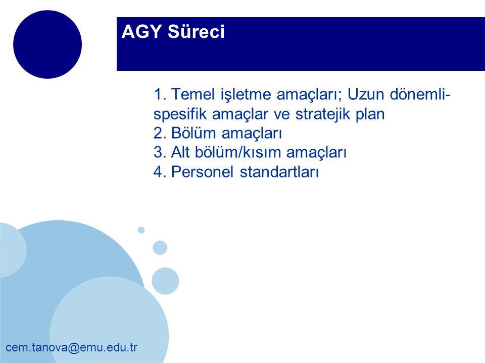 cem.tanova@emu.edu.tr AGY Süreci 1. Temel işletme amaçları; Uzun dönemli- spesifik amaçlar ve stratejik plan 2. Bölüm amaçları 3. Alt bölüm/kısım amaç