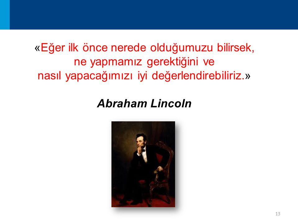 13 «Eğer ilk önce nerede olduğumuzu bilirsek, ne yapmamız gerektiğini ve nasıl yapacağımızı iyi değerlendirebiliriz.» Abraham Lincoln