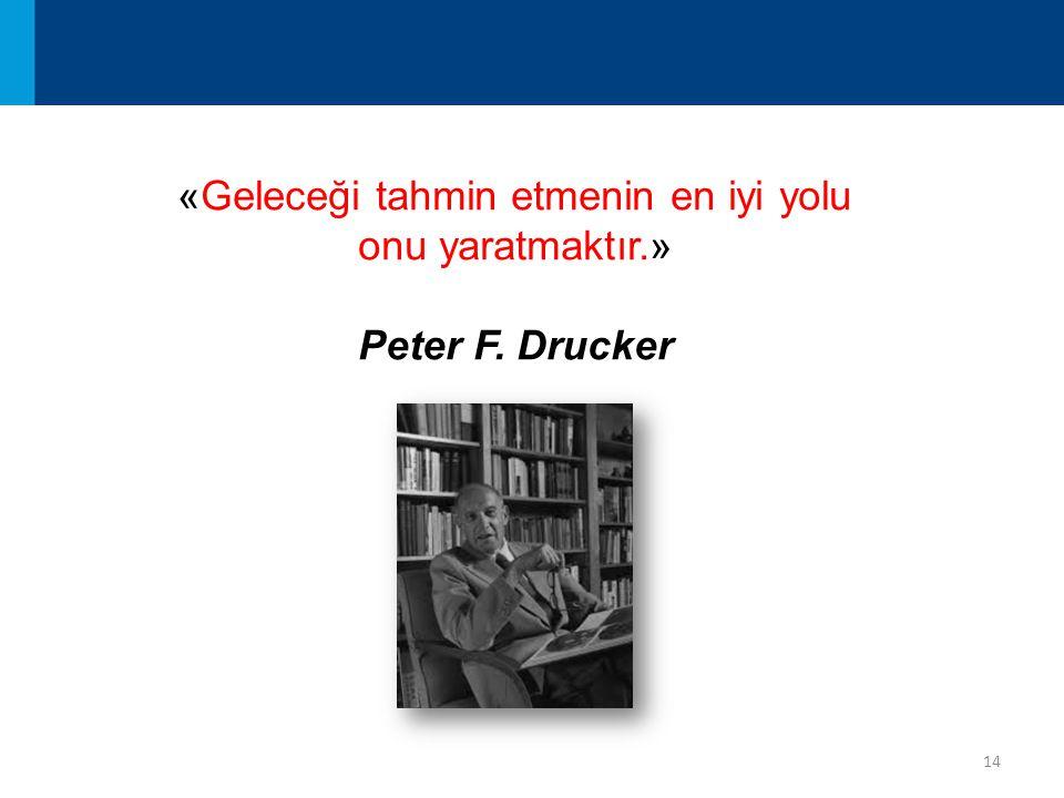 14 «Geleceği tahmin etmenin en iyi yolu onu yaratmaktır.» Peter F. Drucker