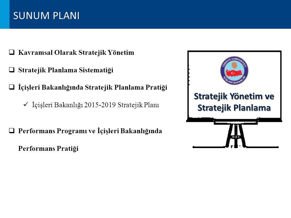 SUNUM PLANI  Kavramsal Olarak Stratejik Yönetim  Stratejik Planlama Sistematiği  İçişleri Bakanlığında Stratejik Planlama Pratiği İçişleri Bakanlığı 2015-2019 Stratejik Planı  Performans Programı ve İçişleri Bakanlığında Performans Pratiği Stratejik Yönetim ve Stratejik Planlama