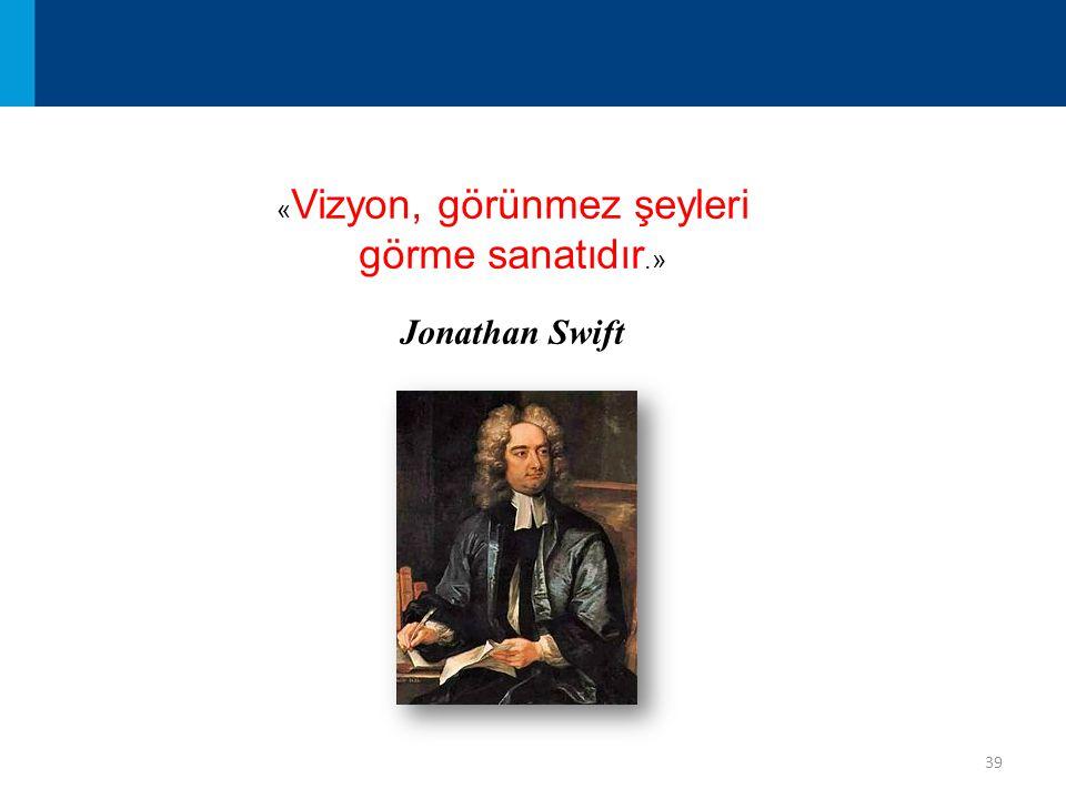 39 « Vizyon, görünmez şeyleri görme sanatıdır.» Jonathan Swift