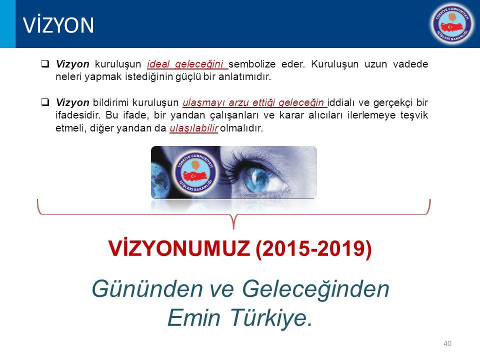 40 VİZYONUMUZ (2015-2019) Gününden ve Geleceğinden Emin Türkiye.