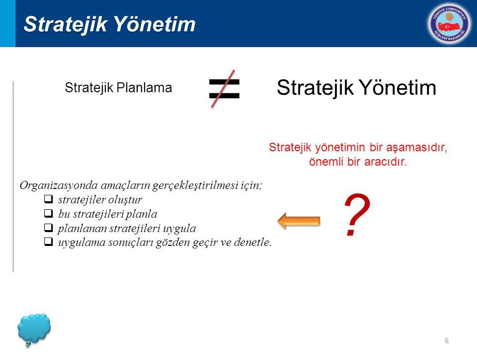 6 Organizasyonda amaçların gerçekleştirilmesi için;  stratejiler oluştur  bu stratejileri planla  planlanan stratejileri uygula  uygulama sonuçları gözden geçir ve denetle.