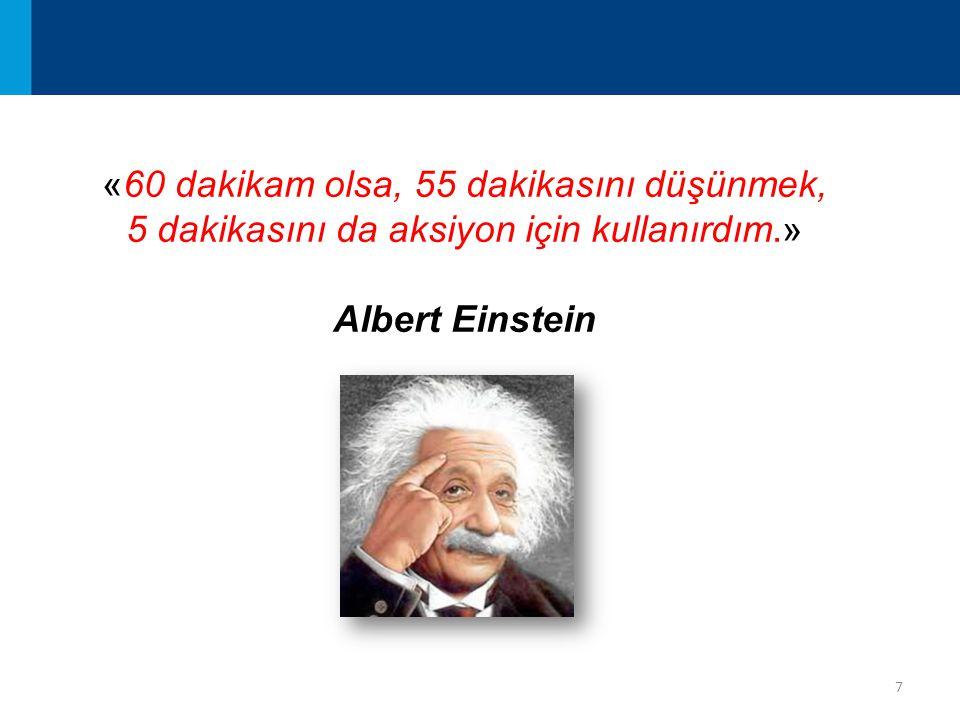 7 «60 dakikam olsa, 55 dakikasını düşünmek, 5 dakikasını da aksiyon için kullanırdım.» Albert Einstein