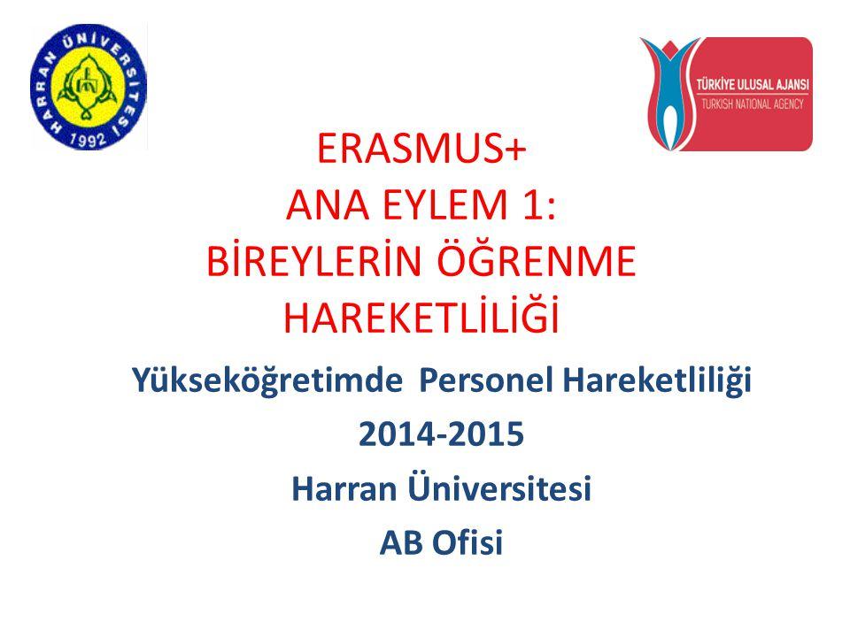 ERASMUS+ ANA EYLEM 1: BİREYLERİN ÖĞRENME HAREKETLİLİĞİ Yükseköğretimde Personel Hareketliliği 2014-2015 Harran Üniversitesi AB Ofisi