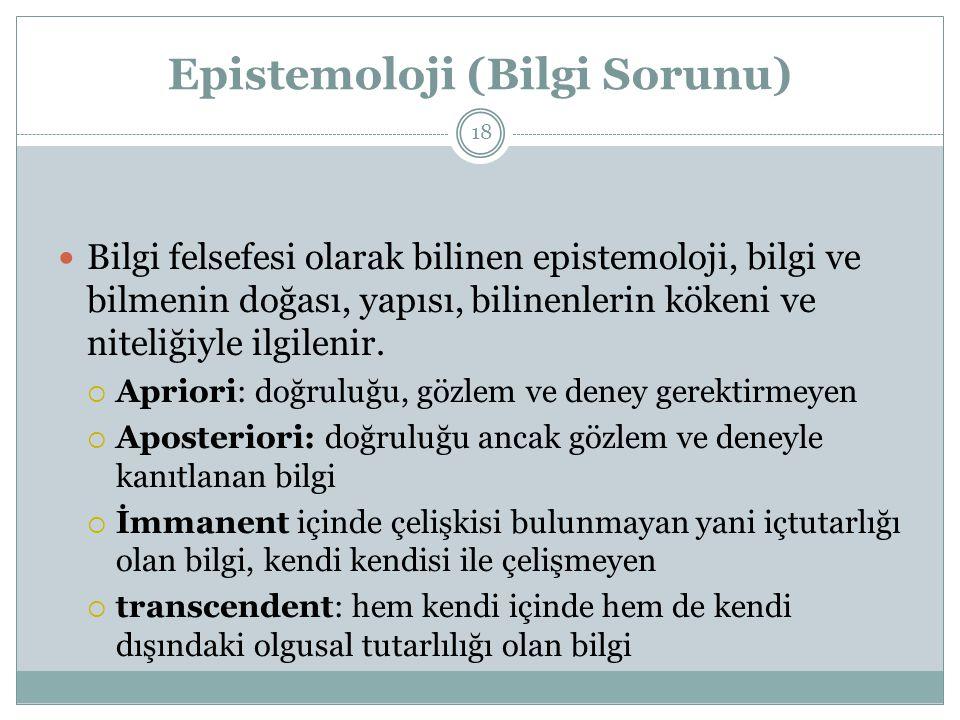 Epistemoloji (Bilgi Sorunu) Bilgi felsefesi olarak bilinen epistemoloji, bilgi ve bilmenin doğası, yapısı, bilinenlerin kökeni ve niteliğiyle ilgilenir.