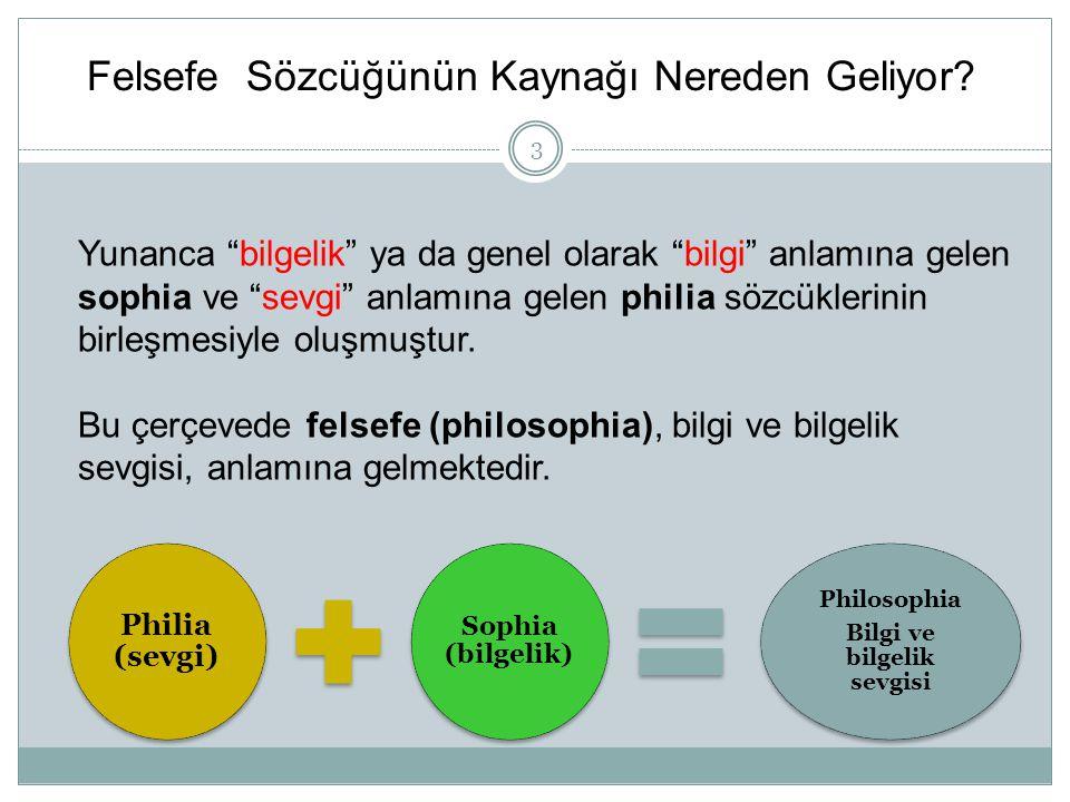 """Felsefe Sözcüğünün Kaynağı Nereden Geliyor? Philia (sevgi) Sophia (bilgelik) Philosophia Bilgi ve bilgelik sevgisi Yunanca """"bilgelik"""" ya da genel olar"""