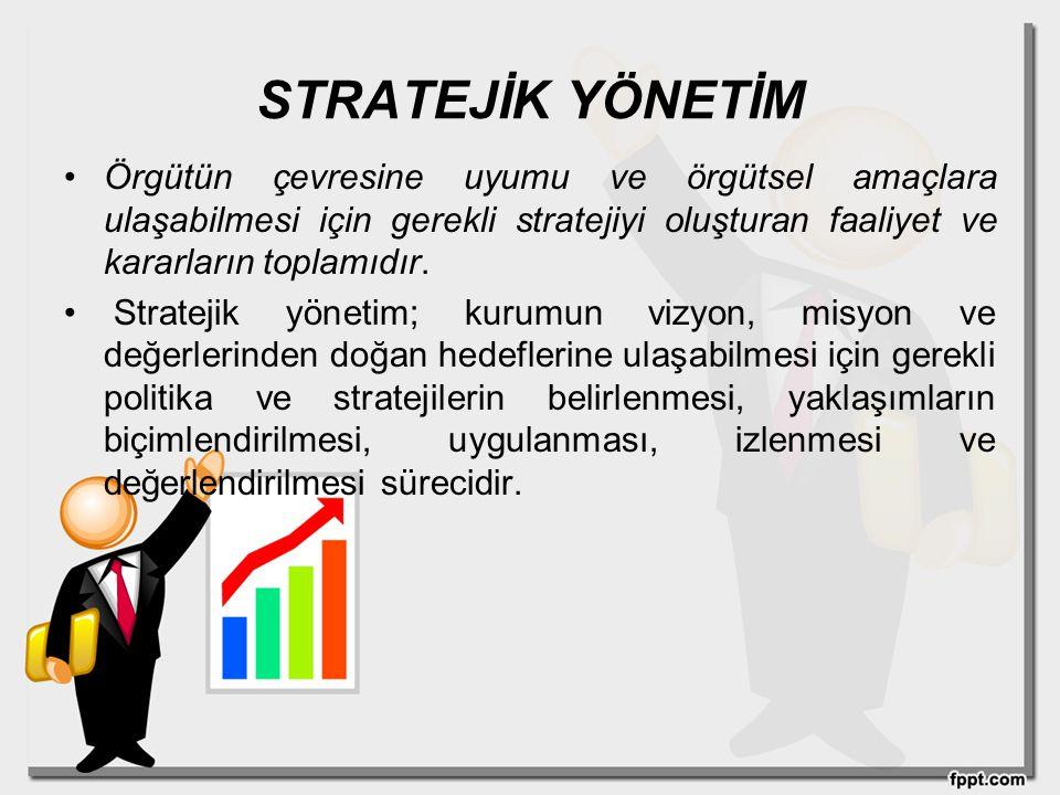 STRATEJİK YÖNETİM Örgütün çevresine uyumu ve örgütsel amaçlara ulaşabilmesi için gerekli stratejiyi oluşturan faaliyet ve kararların toplamıdır. Strat