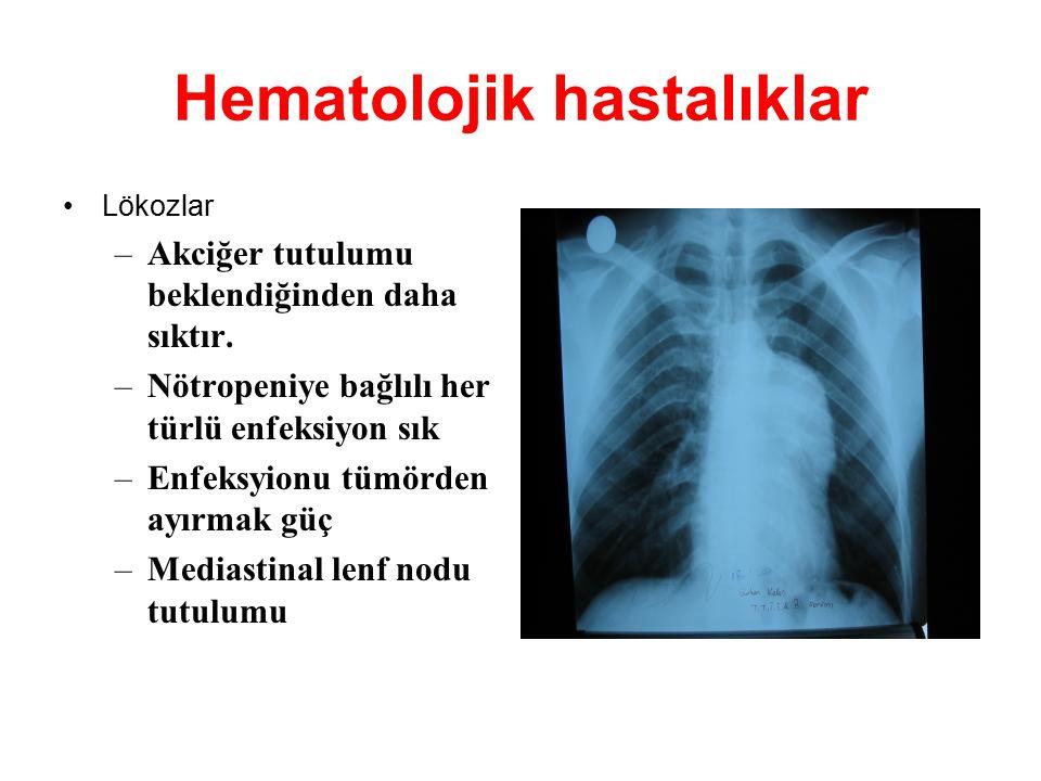 Hematolojik hastalıklar Lökozlar –Akciğer tutulumu beklendiğinden daha sıktır. –Nötropeniye bağlılı her türlü enfeksiyon sık –Enfeksyionu tümörden ayı