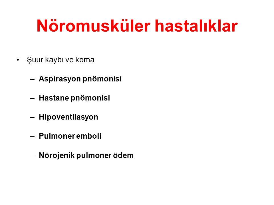 Nöromusküler hastalıklar Şuur kaybı ve koma –Aspirasyon pnömonisi –Hastane pnömonisi –Hipoventilasyon –Pulmoner emboli –Nörojenik pulmoner ödem