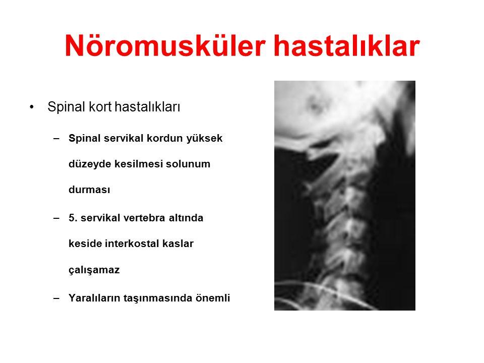 Nöromusküler hastalıklar Spinal kort hastalıkları –Spinal servikal kordun yüksek düzeyde kesilmesi solunum durması –5. servikal vertebra altında kesid