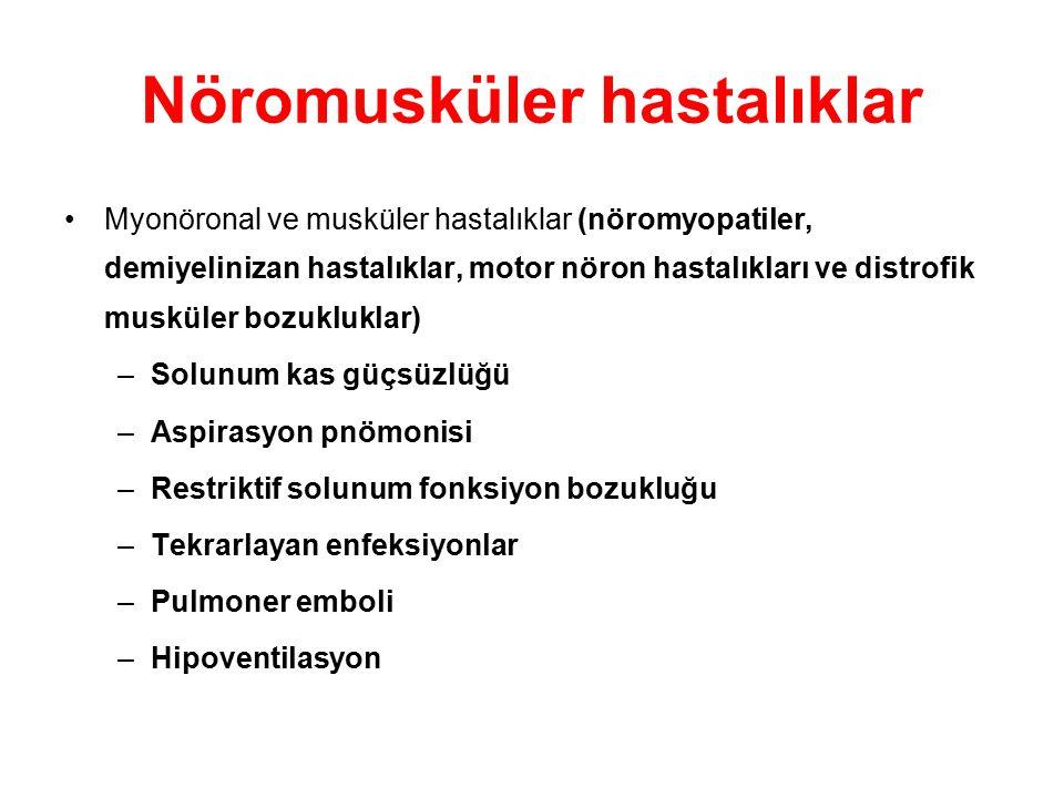 Nöromusküler hastalıklar Myonöronal ve musküler hastalıklar (nöromyopatiler, demiyelinizan hastalıklar, motor nöron hastalıkları ve distrofik musküler
