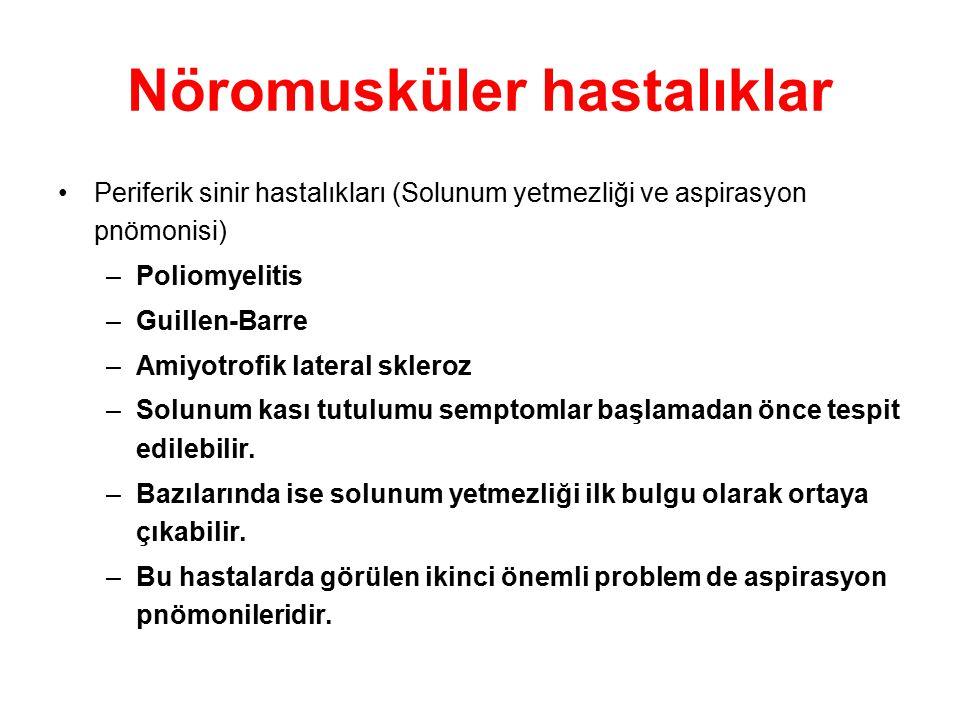 Nöromusküler hastalıklar Periferik sinir hastalıkları (Solunum yetmezliği ve aspirasyon pnömonisi) –Poliomyelitis –Guillen-Barre –Amiyotrofik lateral