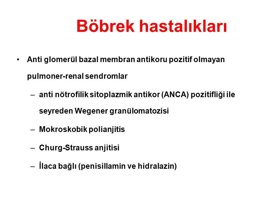 Böbrek hastalıkları Anti glomerül bazal membran antikoru pozitif olmayan pulmoner-renal sendromlar –anti nötrofilik sitoplazmik antikor (ANCA) pozitif