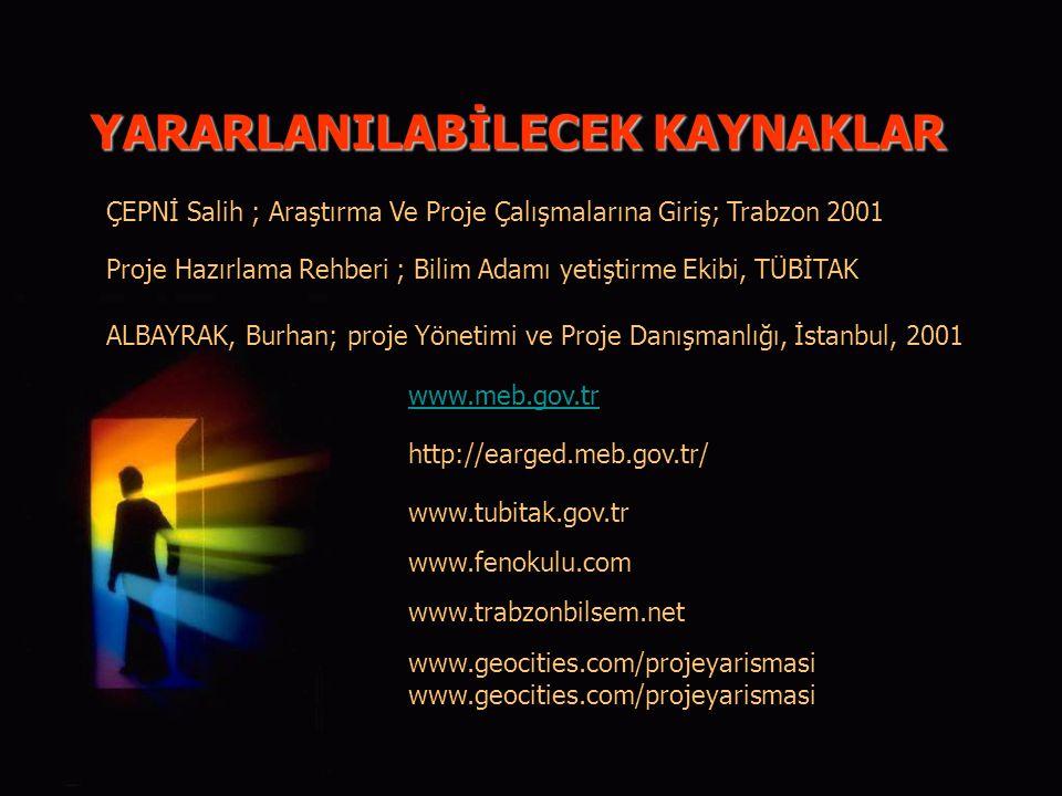 YARARLANILABİLECEK KAYNAKLAR ÇEPNİ Salih ; Araştırma Ve Proje Çalışmalarına Giriş; Trabzon 2001 Proje Hazırlama Rehberi ; Bilim Adamı yetiştirme Ekibi