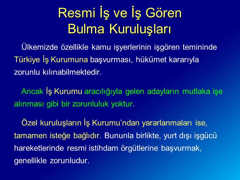 Ülkemizde özellikle kamu işyerlerinin işgören temininde Türkiye İş Kurumuna başvurması, hükümet kararıyla zorunlu kılınabilmektedir. Ancak İş Kurumu a