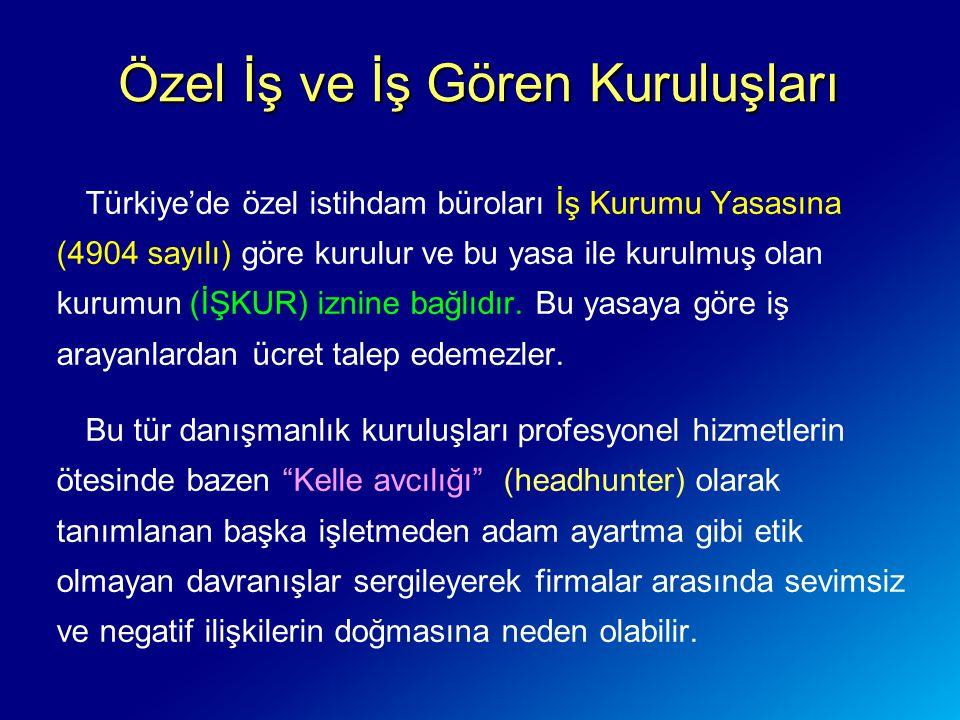 Türkiye'de özel istihdam büroları İş Kurumu Yasasına (4904 sayılı) göre kurulur ve bu yasa ile kurulmuş olan kurumun (İŞKUR) iznine bağlıdır. Bu yasay