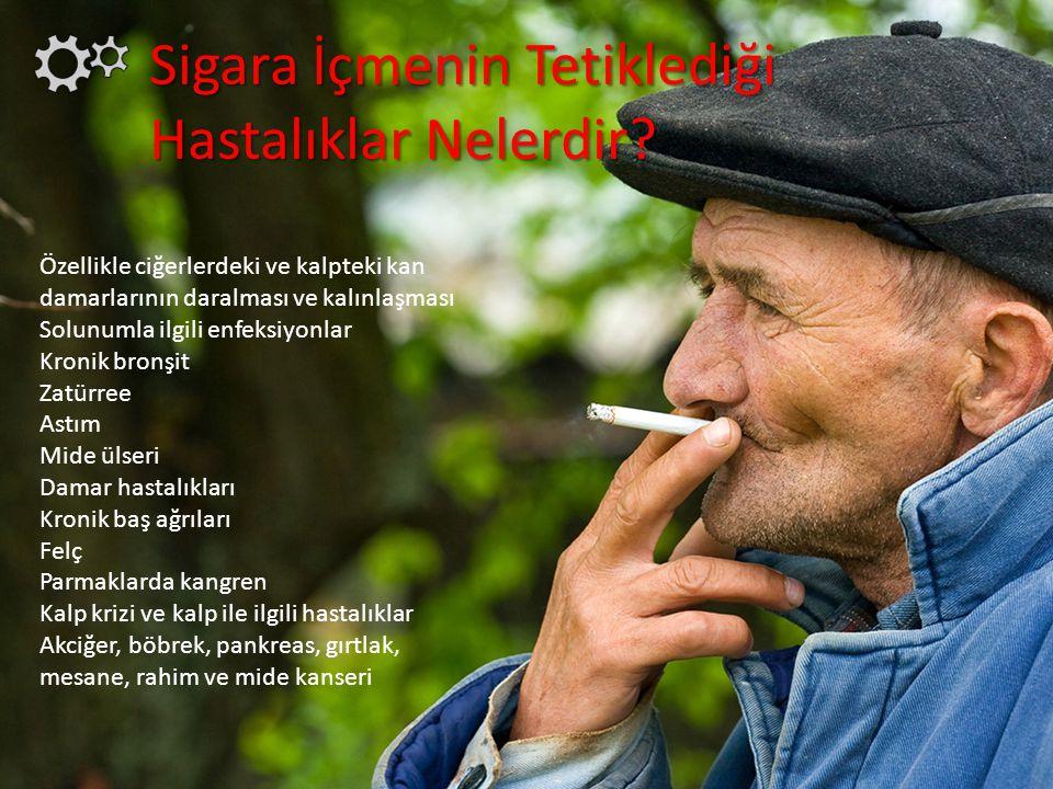 Sigara İçmenin Tetiklediği Hastalıklar Nelerdir? Özellikle ciğerlerdeki ve kalpteki kan damarlarının daralması ve kalınlaşması Solunumla ilgili enfeks